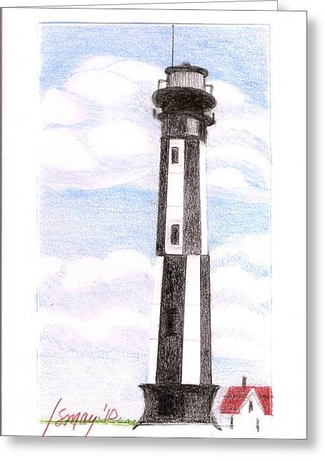 Greeting Card featuring the painting Fort Story Lighthouse Virginia  Beach Va by Rod Ismay