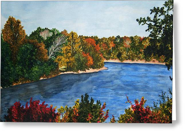 Fort Toulouse Coosa River In Fall Greeting Card by Beth Parrish