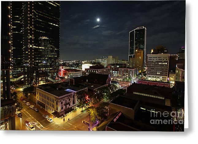 Fort Worth Moon Glow Greeting Card