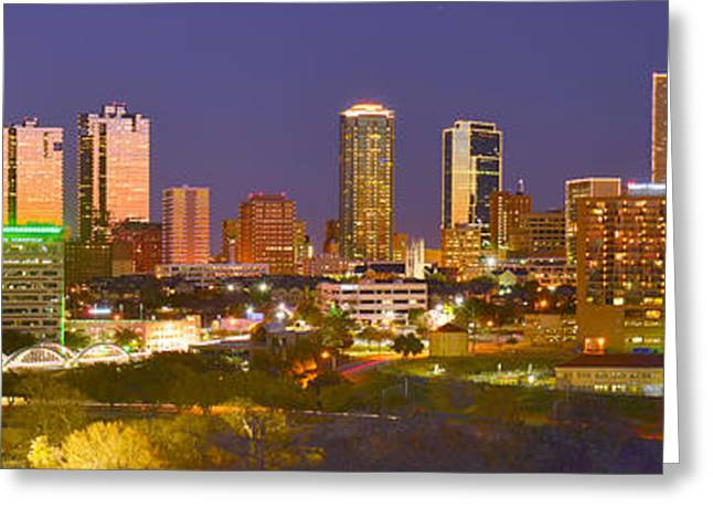 Fort Worth Skyline At Night Color Evening Panorama Ft. Worth Texas Greeting Card by Jon Holiday
