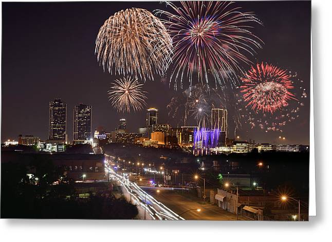 Fort Worth Skyline At Night Fireworks Color Evening Ft. Worth Texas Greeting Card by Jon Holiday