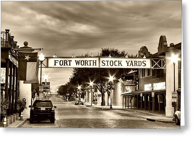 Fort Worth Stock Yards In Sepia Greeting Card