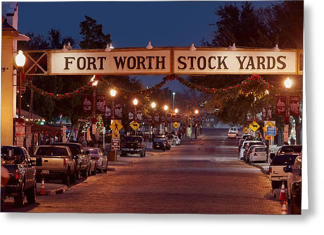 Fort Worth Stock Yards Night Greeting Card