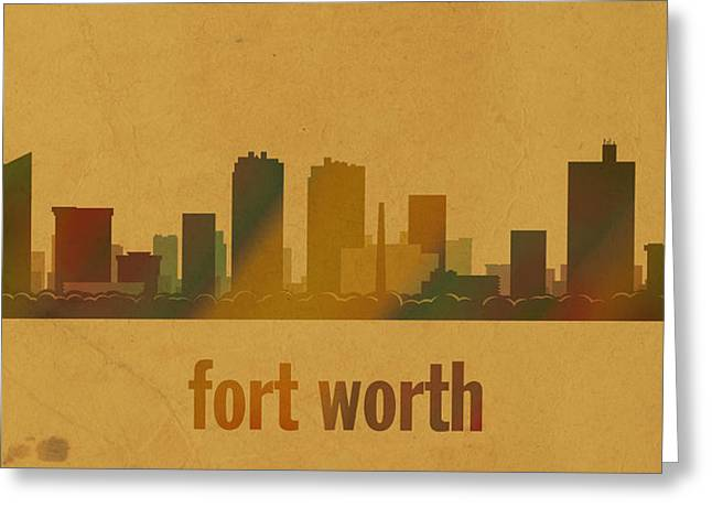 Fort Worth Texas City Skyline Watercolor On Parchment Greeting Card by Design Turnpike