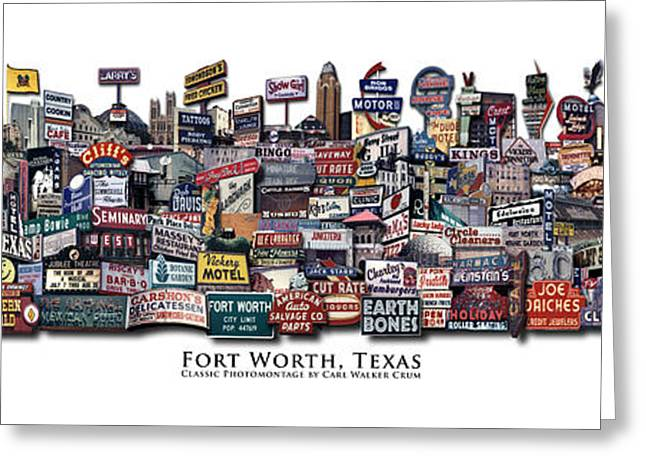 Fort Worth Texas Classic Photomontage Greeting Card by Carl Crum