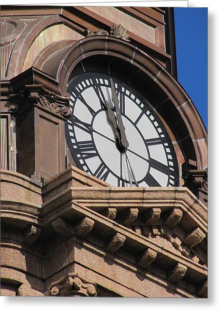 Fort Worth Texas Courthouse Clock Greeting Card by Shawn Hughes