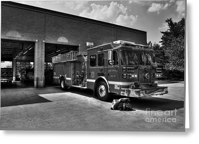 Fort Wright Fire Station Bw Greeting Card by Mel Steinhauer