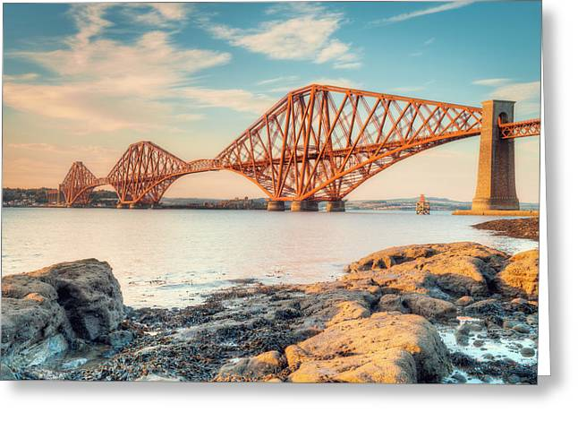 Forth Bridge At Sunset Greeting Card by Ray Devlin