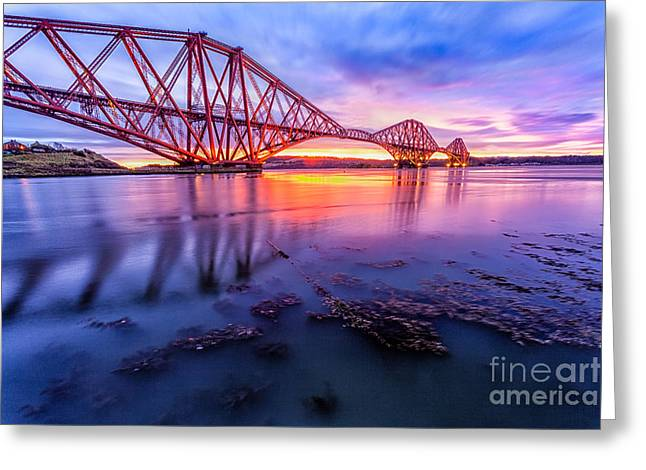 Forth Rail Bridge Stunning Sunrise Greeting Card by John Farnan