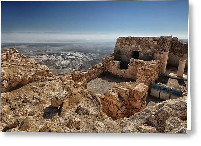 Fortress Of Masada Israel 1 Greeting Card by Mark Fuller
