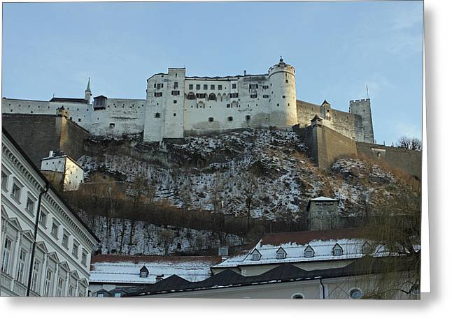 Fortress On The Hill Greeting Card by Laura Watts