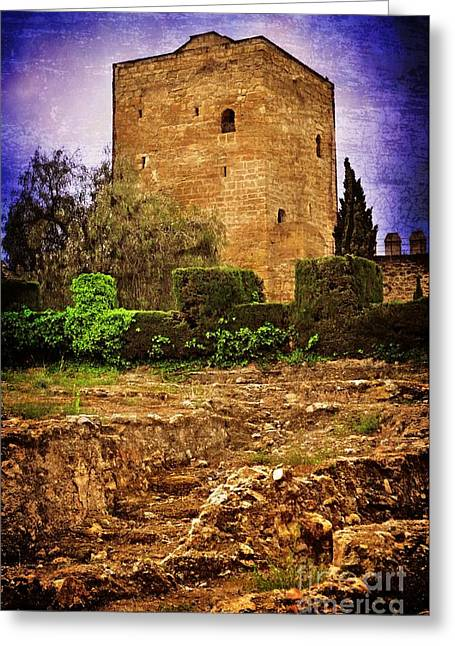 Fortress Tower Greeting Card by Mary Machare
