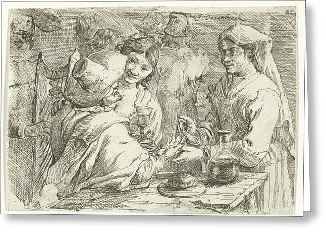 Fortune Teller With A Customer, Jan Van Ossenbeeck Greeting Card by Jan Van Ossenbeeck