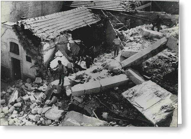 Forty Dead In Flats Collapse In Italy Greeting Card by Retro Images Archive