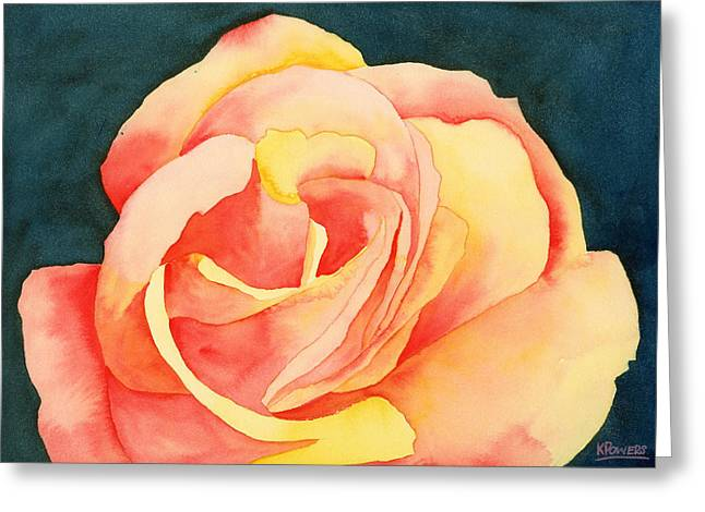 Greeting Card featuring the painting Forty-five Minute Rose by Ken Powers