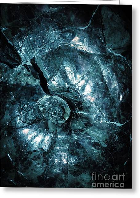 Fossil Blue Abstract Greeting Card by Edward Fielding