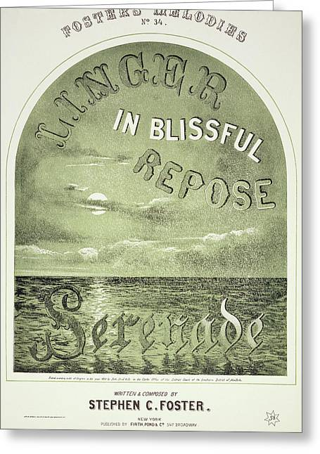 Foster Song Sheet, 1858 Greeting Card by Granger