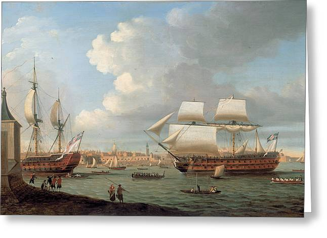 Foudroyant And Pegase Entering Portsmouth Harbour Greeting Card