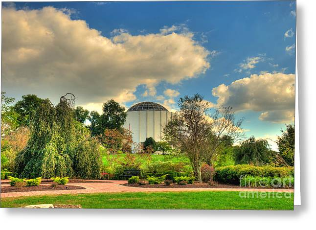 Founders Hall From The Garden Greeting Card by Mark Dodd