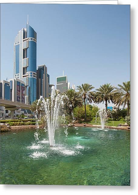 Fountain And Downtown Skyline Of Dubai Greeting Card