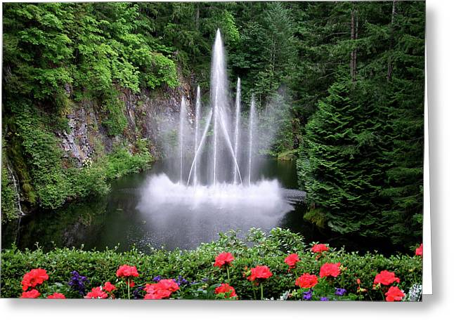 Fountain And Flowers Greeting Card