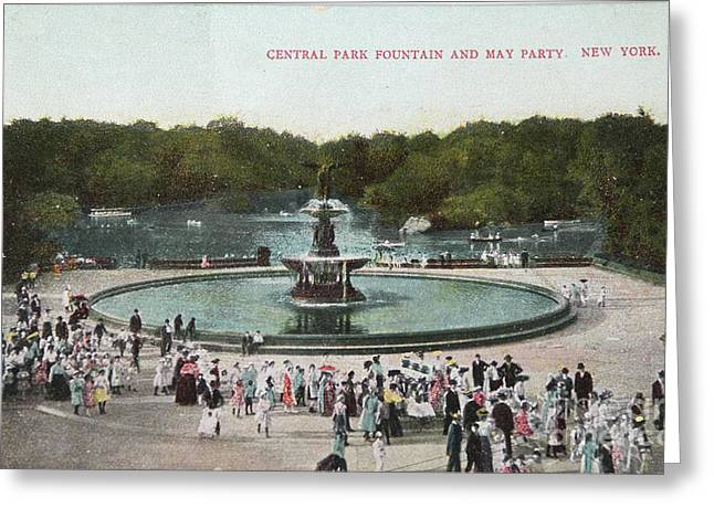 Fountain And May Partin In Central Park In 1905 Greeting Card