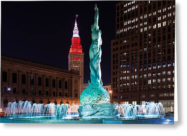 Fountain And Terminal Tower In Red 2 Greeting Card