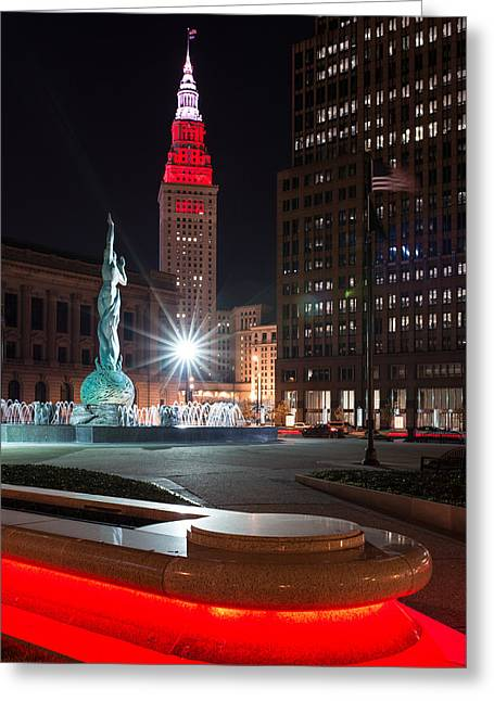 Fountain And Terminal Tower In Red Greeting Card