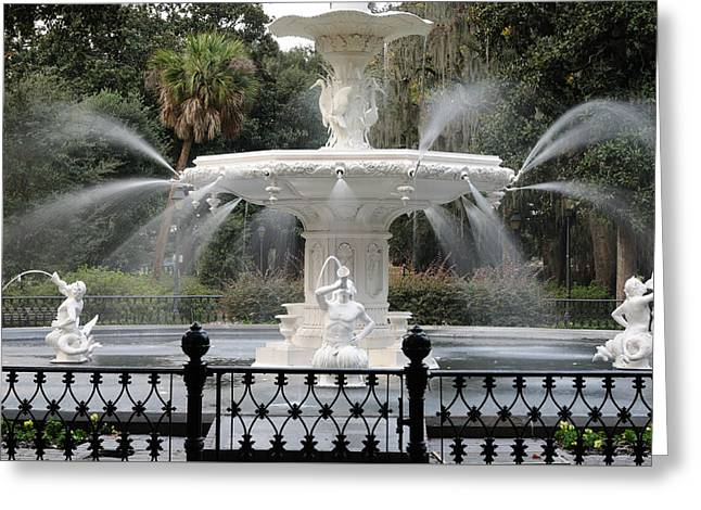 Fountain At Forsyth Park Savannah Greeting Card