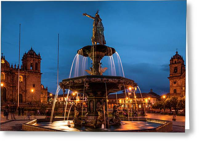 Fountain At La Catedral, Plaza De Greeting Card by Panoramic Images