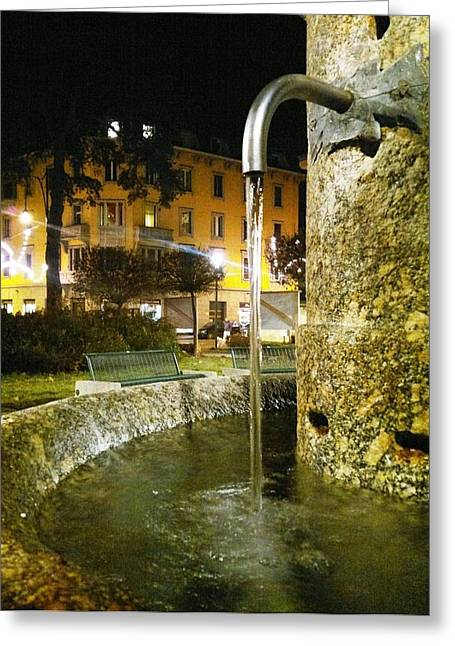 Fountain At Night Greeting Card by Giuseppe Epifani