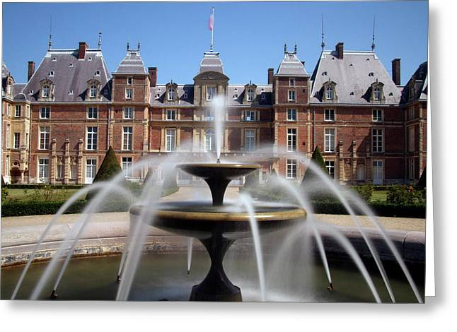 Fountain, Chateau, Eu, Normandy, France Greeting Card