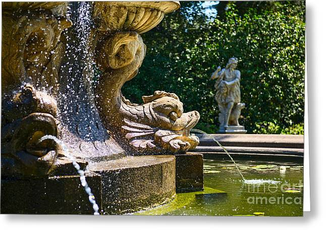 Fountain Details - Iconic Fountain At The Huntington Library Greeting Card by Jamie Pham