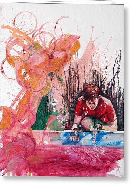 Greeting Card featuring the painting Fountain Full Of Blood by Rene Capone