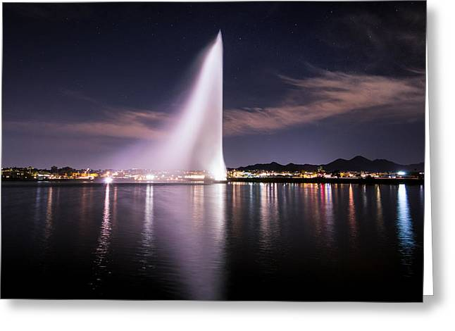 Fountain Hills At Night Greeting Card by Michael J Bauer