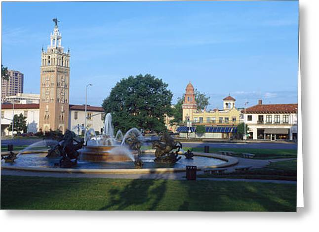 Fountain In A City, Country Club Plaza Greeting Card by Panoramic Images