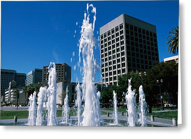 Fountain In A Park, Plaza De Cesar Greeting Card by Panoramic Images