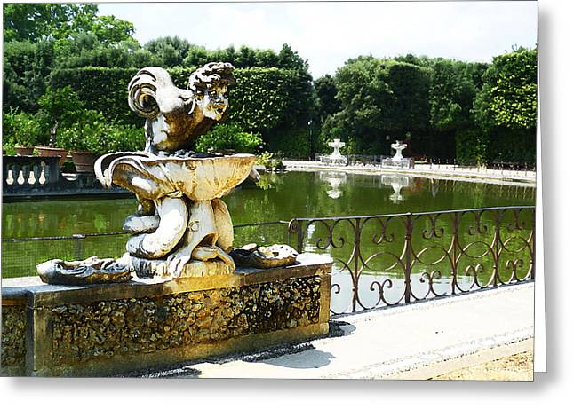 Fountain In Boboli Gardens Florence Italy Greeting Card by Irina Sztukowski