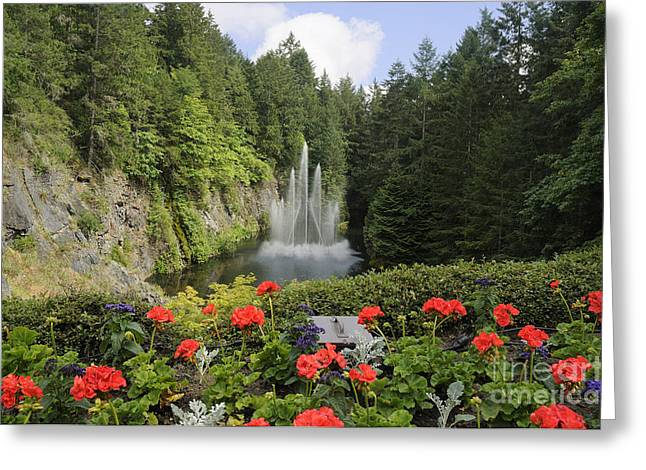 Fountain In Butchart Gardens Greeting Card