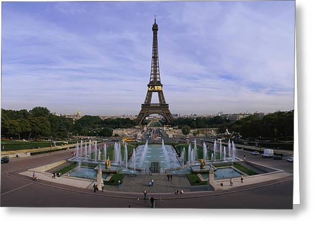 Fountain In Front Of A Tower, Eiffel Greeting Card by Panoramic Images