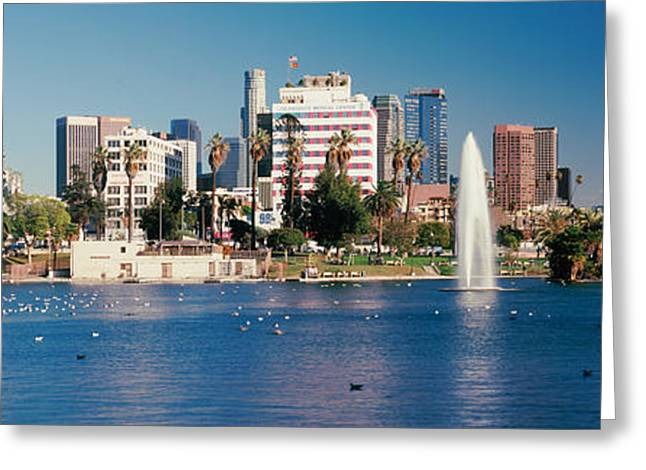 Fountain In Front Of Buildings Greeting Card by Panoramic Images