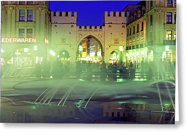 Fountain In Front Of The Karlstor Greeting Card by Panoramic Images