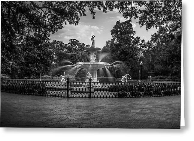 Fountain In Savannah Ga  Greeting Card by John McGraw