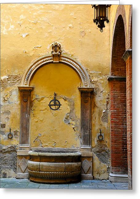 Fountain In Sienna Greeting Card