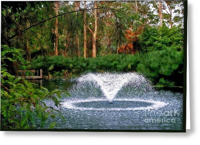 Fountain In The Park 2 Greeting Card by Kaye Menner