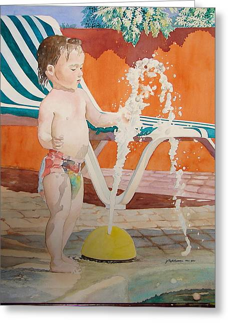 Fountain Greeting Card by Jelly Starnes
