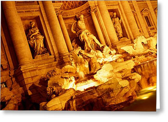 Fountain Lit Up At Night, Trevi Greeting Card by Panoramic Images