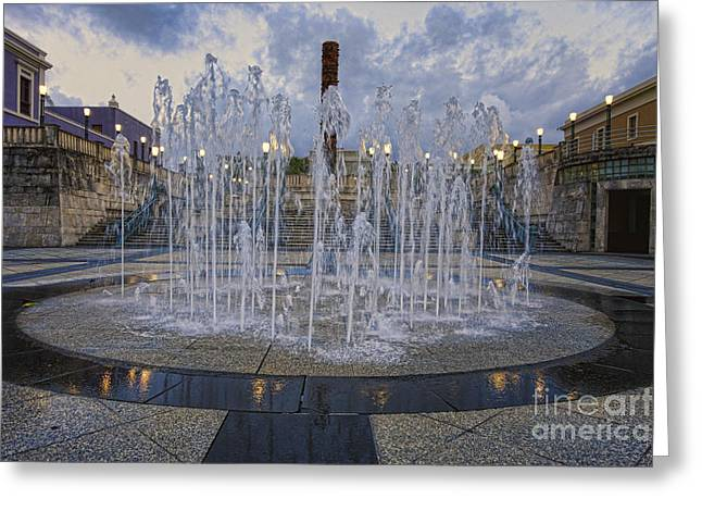 Fountain Of Plaza Del Quinto Centenario Greeting Card by George Oze