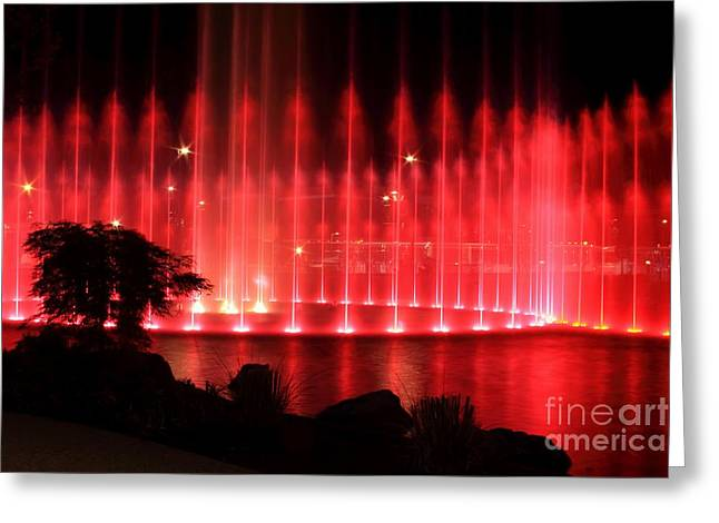 Fountain Of Red Greeting Card by Geraldine DeBoer