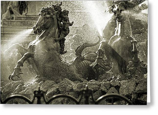 Fountain Of The Girondins Greeting Card by Peter Scholey